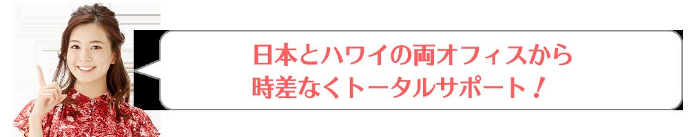 日本とハワイの両オフィスから時差なくトータルサポート!